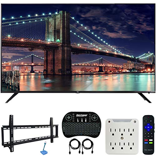 TCL 75R617 75-inch 6-Series 4K UHD Dolby Vision HDR Roku Smart TV (2019) Bundle with 37-70-inch Low Profile Wall Mount Kit, Deco Gear Wireless Keyboard and 6-Outlet Surge Adapter with Night Light