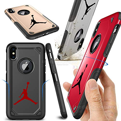 iPhone 7 Plus - Shock Resistant Two Layer TPU & PC Jordan Case Full Drop Protection with Slim Thin Design Hard & Soft Dual Air Bred Shell Michael Basketball Cover (Red)