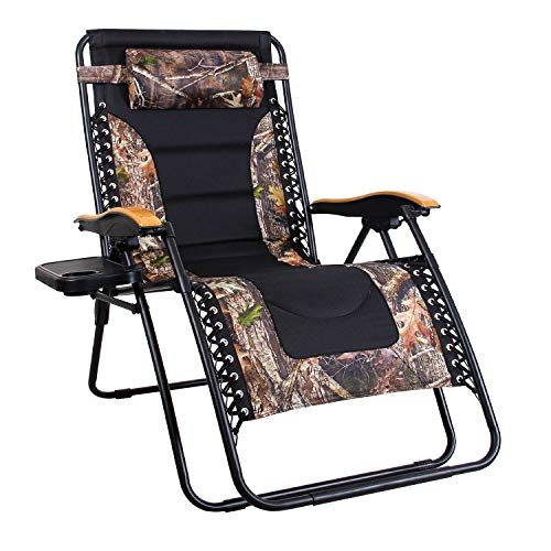 MFSTUDIO Oversized Zero Gravity Chair XL Patio Recliners Padded Folding Chair with Cup Holder, Extra Wide Chaise Lounge for Poolside Outdoor Yard Beach, Camouflage