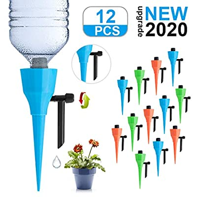 LAVIZO ?New Upgrade? Plant Self Watering Spikes Devices, Automatic Irrigation Equipment Plant Waterer with Slow Release Control Valve, Plant Self-Watering Device Suitable for All Bottles -12 Pack