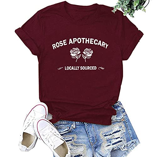OutTop Graphic Tees for Women Funny Quotes Print Casual Crewneck Short Sleeve T Shirts Solid Loose Tunic Tops Blouse (Wine, XL)