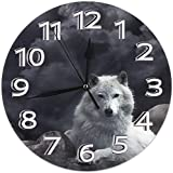 Mailine Reloj de Pared Lobo Negro Reloj de Pared Decorativo Silencioso Sin tictac - Redondo Fácil de Leer Reloj Decorativo