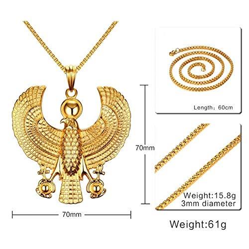 VFDGB Männer Halsketten Ägyptischen Horus Vogel Falke Halten Anhänger Gold Farbe Stahl Hip Hop Kostüm Schmuck