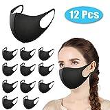 Morfone Máscara Facial, 12 Máscaras de Protección Bucal Reutilizable, Lavable, de algodón, Unisex [Color Negro]