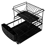 Feibrand Dish Drainer 2 Tier Dish Drying Rack with Drip Tray and Holder