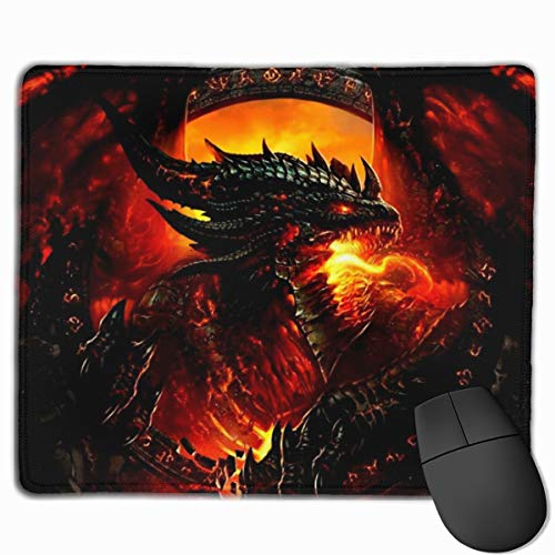Steel Red Dragon Mouse Pad, Large Gaming Mouse Pad with Non-Slip Rubber Base Stitched Edges for Computers Laptop Desk