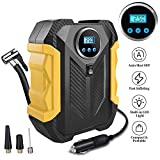 Surwit Portable Tire Inflator Pump, DC 12V Car Tire Air Compressor, Auto Shut Off Feature, Digital LCD Display, Emergency LED Flashlight, for Car Truck Motorcycle Bicycle Tires