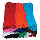 Chenille Kraft 911001 Jumbo Stems, 12' x 6mm, Metal Wire, Polyester, Assorted, Box of 1000, 1/4 x 12 Inches