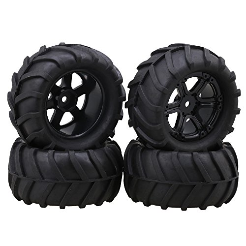 lovermusic 4PCS 1/16 RC Crawler Truck Off Roader Rubber Tires and Rims, 3.35x1.65inch Rock Climbing Tires