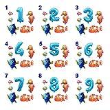 Ysjspd Globo Grande Océano Hoja hincha bebé Shark Boy Fiesta de cumpleaños de los niños Embroma suministra Número Globo de la decoración (Color : Set 7, Shape : Number 2)