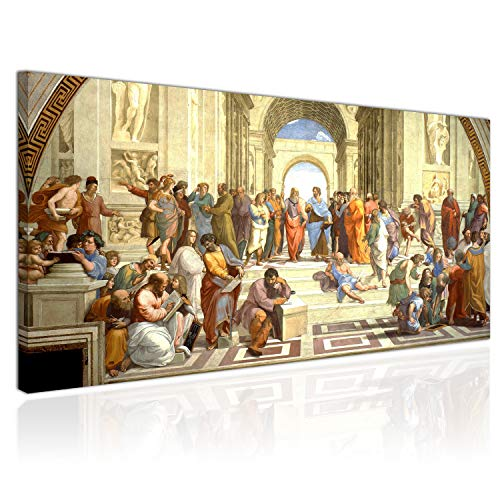 Cuadro XXL sobre Lienzo, Imagen Panorámica 100x50cm, Escuela de Atenas, Fresco por Raffaello Sanzio, Renacimiento Italiano   Decoración de Pared, Imagen Panorámica   Una Pieza
