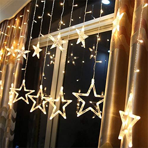 Pywee Cortina de luz LED Blanca cálida con Control Remoto Iluminación navideña Ventana Interior para Bodas, Fiesta de Navidad IP44 31 V 8 Modos Regulable