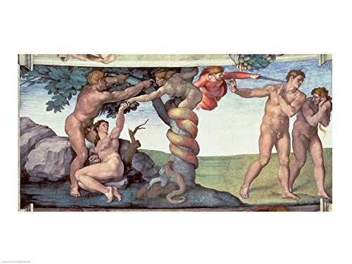 Sistine Chapel Ceiling (1508-12): The Fall of Man, 1510 by Michelangelo Buonarroti Art Print, 43 x 32 inches