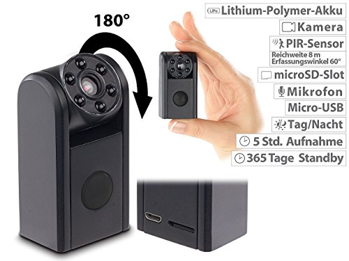 Somikon Mini Kameras: Mini-HD-Überwachungskamera, IR-Nachtsicht, PIR-Sensor, 1 Jahr Stand-by (IR Kamera)