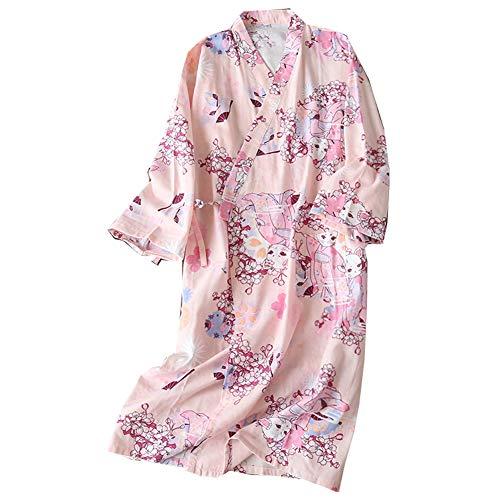 [Cactus A] Bata de algodón Japonesa para Mujer Bata de Kimono de Pijama