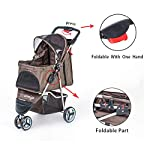 comiga Pet Stroller, 3-Wheel Cat Stroller, Foldable Dog Stroller with Removable Liner and Storage Basket, for Small-Medium Pet,Coffee 10
