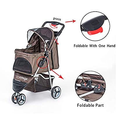 comiga Pet Stroller, 3-Wheel Cat Stroller, Foldable Dog Stroller with Removable Liner and Storage Basket, for Small-Medium Pet,Coffee 3