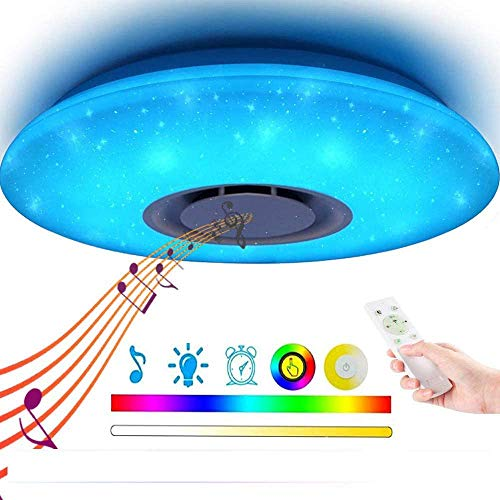 LED Music plafondlamp met Bluetooth Speaker 36W, hoge geluidskwaliteit, luidspreker, Upgrade Modern Light Lampen met RGB Color Changing