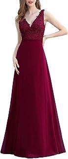 Ever-Pretty Abiti da Damigella Elegante Chiffon Stile Impero Scollo a V Senza Maniche con Appliques Donna 00548