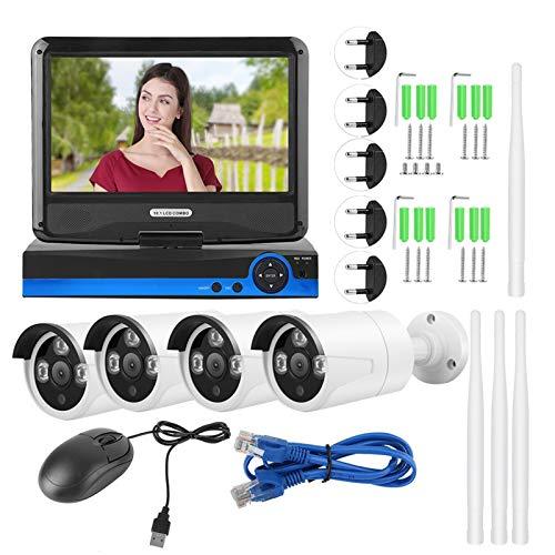 WMKD Sistema de cámara de Seguridad inalámbrica, Sistema de cámara CCTV Plug-and-Play, supermercados para Seguridad en el hogar, Oficina, Escuela(100-240V European Standard, Transl)