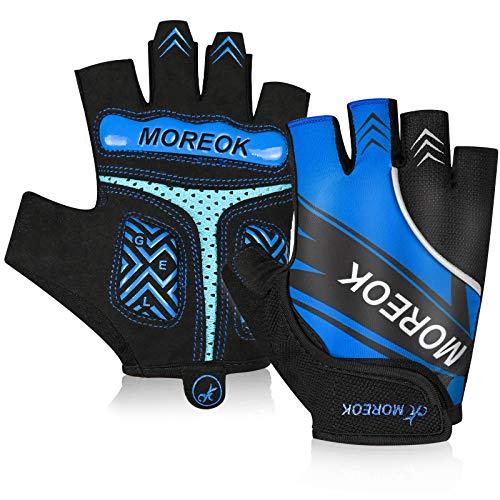 BIKINGMOREOK Cycling Gloves Half Finger Bike Gloves 5MM SBR Gel Pads Bicycle Gloves Shock-Absorbing Mountain Bike Gloves Anti-Slip DH Road MTB Biking Gloves for Men Women-Blue-L