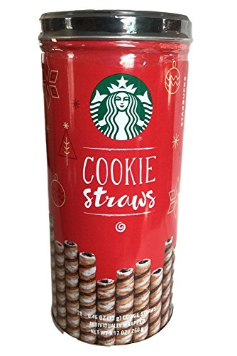 Starbucks Cookie Straws - 20 Chocolaty Rolled Wafers Individually Wrapped in Decorated Tin (Holiday Edition)