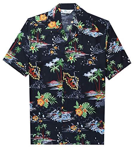 Alvish - Camisas hawaianas para hombre Negro Negro ( S