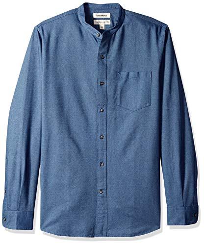 Amazon-Marke - Goodthreads, Oxford-Herrenhemd, Langarm, Stehkragen, normale Passform, Blau (Indigo Ind), US S (EU S)
