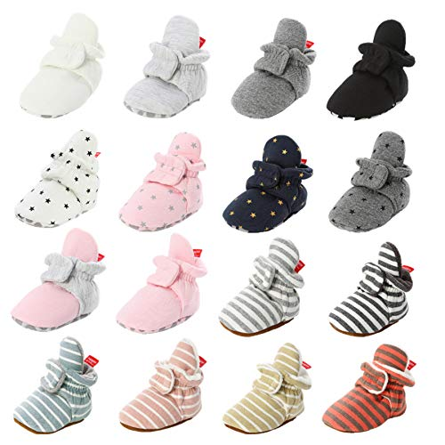Newborn Baby Boys Girls Cozy Fleece Booties Anti-Slip Soft Sole Toddler Warm Winter First Walkers Crib Shoes (6-12 Months Infant, C-Gray/Star)