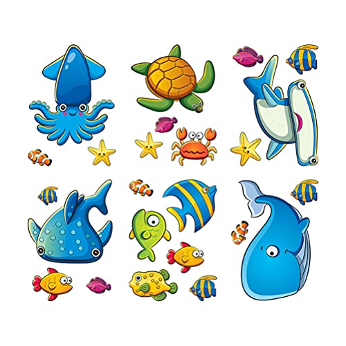 NUOBESTY Bathtub Stickers Cute Sea Animal Stickers Non Slip Shower Stickers Vinyl Dolphin Turtle Octopus Fish Star Wall Stickers for Bathroom Decoration