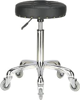 Karrie Swivel Stool Chair Adjustable Height,Heavy Duty Hydraulic Rolling Metal Stool for Kitchen,Salon,Bar,Office,Massage (Black)