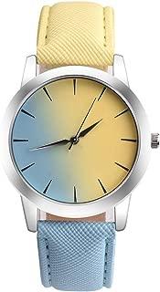 New Women Fashion Luxury Watch Ladies Retro Rainbow Design Leather Band Analog Alloy Quartz Wrist Watch Montre Femme