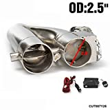 EPMAN Patented Product JDM 2.5' Electric Exhaust Dump Cutout E-CUT Out Bypass/Switch Dual-Valve System