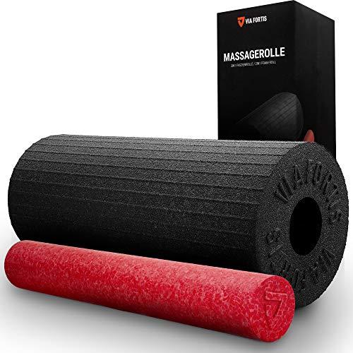 VIA FORTIS Foam Roller 2in1 con Superficie Attivante - Mini Rullo Massaggio Muscolare Rimovibile - Grado Medio di Durezza per Principianti e Atleti Professionisti