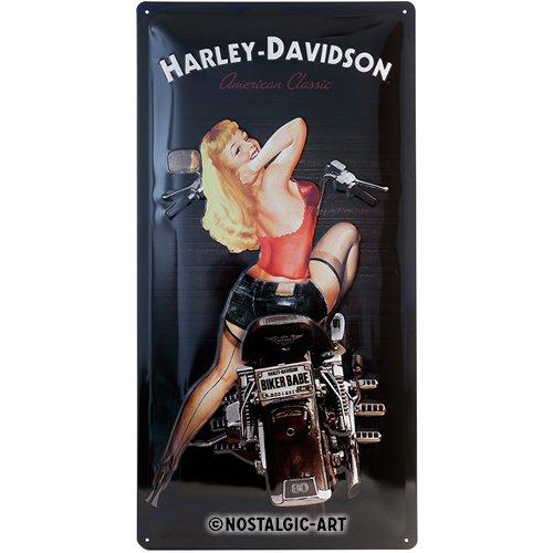 Nostalgic-Art Harley-Davidson – Biker Babe – Geschenk-Idee für Motorrad-Fans, Retro Blechschild, aus Metall, Vintage-Design zur Dekoration, 25 x 50 cm
