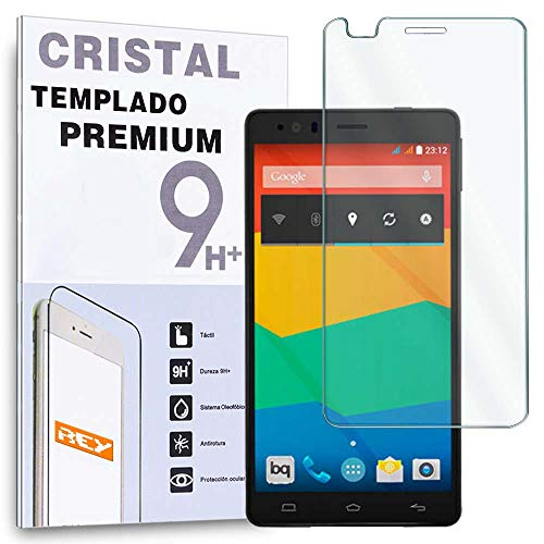 REY Protector de Pantalla para BQ AQUARIS E4 Cristal Vidrio Templado Premium