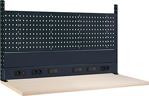 Thur Metall AG Lager- und Betriebseinrichtungen Werkbank-Aufbau B1500xT60xH700mm mit Energieleiste anthrazitgrau