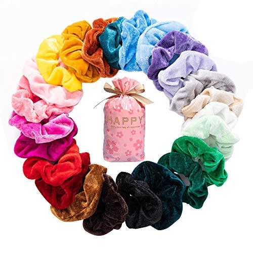 G-Color Samt Haargummis【24 Stücke】Bunte und elastische Gummibänder Haarbänder Scrunchies|Weibliche Pferdeschwanz Haarschmuck Schönes Mädchen Damen Frauen