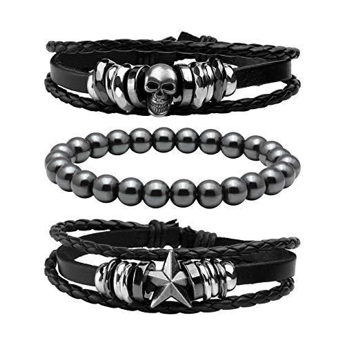 MILAKOO 3 Stück geflochtene Lederarmbänder für Männer Frauen Hämatit Perlen Armbänder