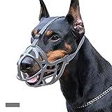 ZHANGZHIYUA Dog Muso, in Gomma Morbida Carrello Muso Muso Gabbia per Le Piccole Medie Cani di Taglia Grande, Consente Ansimante E Bere, Impedisce Unwanted Barking Mordere,Grigio,XL
