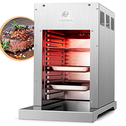 CRZDEAL 880° Gas Steakgrill - 3.5kw 10kg Hochleistungsgrill mit Fortschrittliche Infrarottechnologie, Elektroimpulszündung, Edelstahl Beefer mit 1 Grillrost und 2 Fettschale