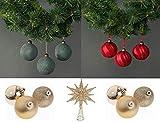 ET Florence Paquete de decoraciones para árbol de Navidad: bolas de árbol de Navidad, bolas de terciopelo. Piezas de centro de mesa de Navidad inastillables (rojo, jade y oro), 3 ángeles blancos.