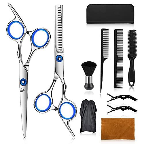 Wrei tijeras de peluquería, Conjunto Tijeras Peluquelo Profesional para el cabello, tijeras de peluquería con capa de barbero y peine de maquinilla de afeitar, set corte de pelo profesional (A-Blanca)