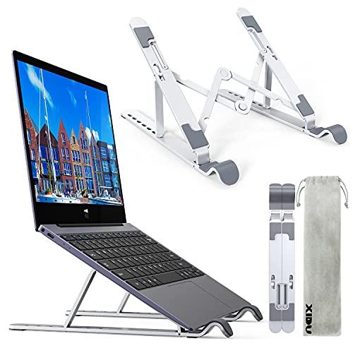 """XIDU Laptop Ständer, 7-Stufe Aluminium Laptop Stand, Tragbar Höhenverstellbarer Belüfteter Laptopständer, rutschfeste Notebook Ständer Kompatibel mit MacBook Pro Air , Dell, 10-15,6"""" Laptops Tablet"""
