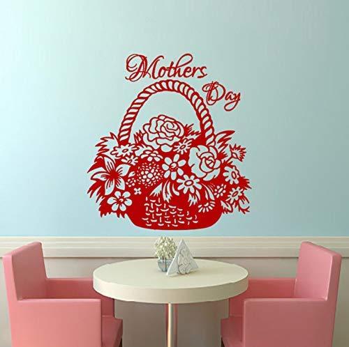 Regalo Del Día De La Madre Vinilo Murales De Arte Murales Cesta Flores Corazón Etiqueta De La Pared Decoración Sala De Estar Dormitorio Tatuajes De Pared 47X43Cm