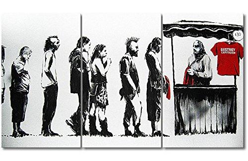 WandbilderXXL QuadriXXL Stampe d'Arte di qualità «Banksy No.6» 180x100cm - Disponibile in 6 Diverse Misure. Pronta per Essere appesa. Grandi Quadri su Tela a Basso costo.