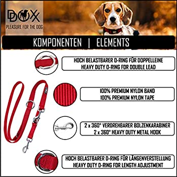 DDOXX Laisse Chien Nylon, Réglable en 3 Position, 2 m | Nombreuses Couleurs & Tailles | pour Petit, Moyen Gros & Grand | Double laisses Ajustable Chat Chiot | M, Orange, 2m
