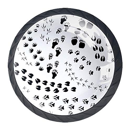 Redondo Negro pomos Pata en blanco y negro para muebles de habitación infantil, para habitación infantil, armarios, cajones, baúles (4pcs) 35mm