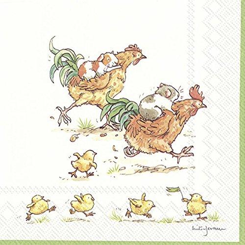 Run Rooster Run weiß Ostern Guinea Pig und Huhn Ihr Papier Lunch Servietten 20Stück 3-lagig 33cm quadratisch