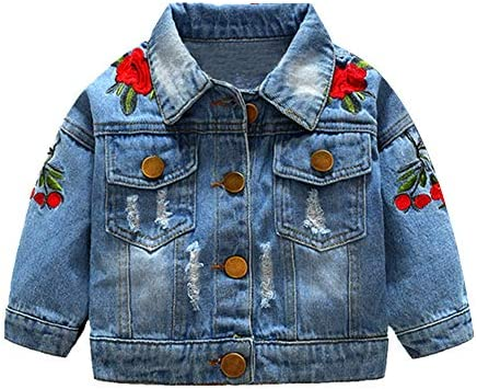 Toddler Baby Denim Jackets Button Down Jeans Coat Ripped Hooded Top Fall Cowboy Long Sleeve product image